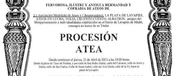 Autorizan la «procesión atea» en Madrid para el próximo viernes