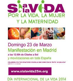 La Plataforma Sí a la Vida organiza una concentración en Madrid el próximo domingo, 23 de marzo