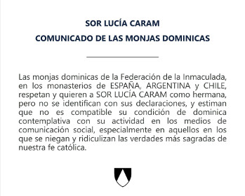 Las monjas dominicas de España, Argentina y Chile reprenden públicamente a Sor Lucía Caram