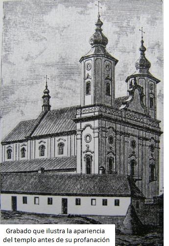 Templo de San Miguel Arcángel antes de su profenación