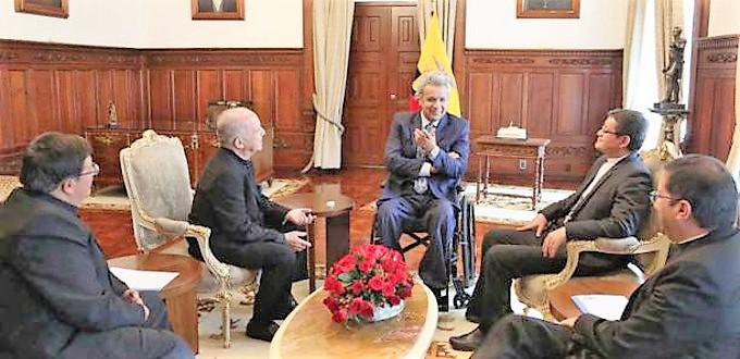 Reunión cordial entre el presidente de Ecuador y los obispos del país
