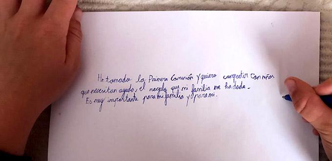 Un niño valenciano dona 1.000 euros de sus regalos de Primera Comunión a niños de Venezuela