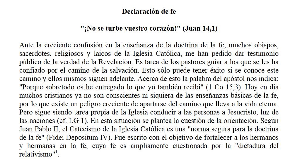 Declaración de fe «¡No se turbe vuestro corazón!» (Juan 14,1) - Cardenal Müller