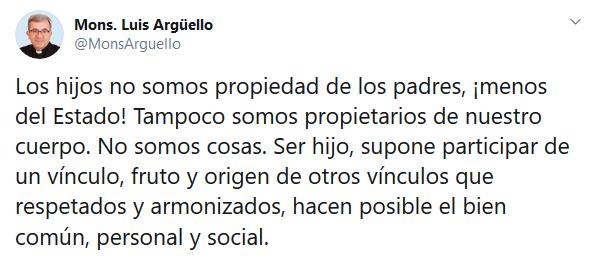 Mons. Luis Argüello sobre el «pin parental»: «Los hijos no somos propiedad de los padres, ¡menos del Estado!»